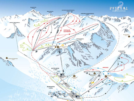 Kaart Pitztal Gletsjer